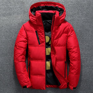 Winter Mens Warm White Duck Parka Puffer With Hood