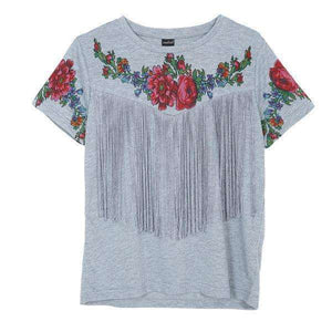 Women Tassel Floral Print Vintage Tshirt Red Rose Tees,, style flaire clothing fashion and gifts