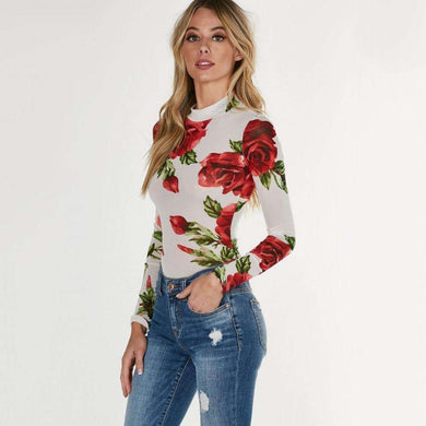 Floral Sexy Rose Turtleneck Jumpsuits - Elegant Summer Bodysuits Women Long Sleeve,, style flaire clothing fashion and gifts