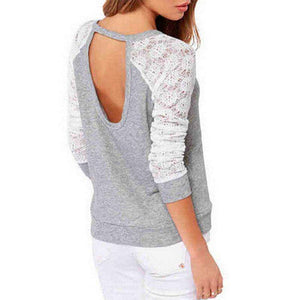 Women Backless Embroidery Lace Long Sleeve Patchwork Top,, style flaire clothing fashion and gifts