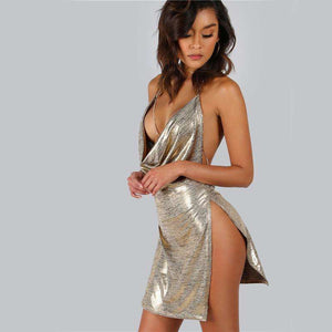Metallic Backless Gold Plunge Cowl Party Dress,, style flaire clothing fashion and gifts