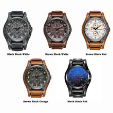 Luxury Leather Wrist Watch Analog Quartz Military Style,, style flaire clothing fashion and gifts
