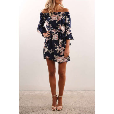 Floral Summer Beach Dress Short Off Shoulder Flower Print,, style flaire clothing fashion and gifts
