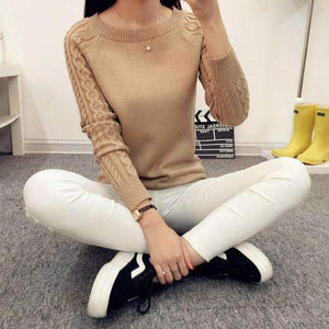 Autumn Winter Solid Knitted Sweater Pullover Womens Long Sleeve,, style flaire clothing fashion and gifts