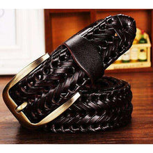 Mens Belt Luxury Leather braided Real Cow Skin Straps,, style flaire clothing fashion and gifts