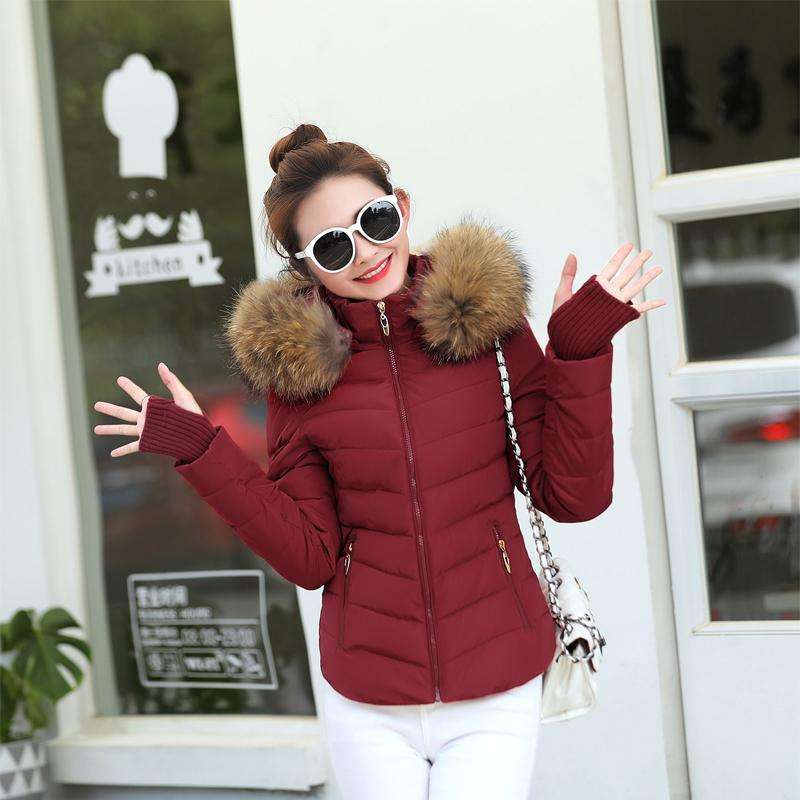 furred womens winter jacket slim fit artificial raccoon furred