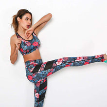 Floral Womens Yoga Set - Mesh Splice Running Set Bra & Leggings,, style flaire clothing fashion and gifts
