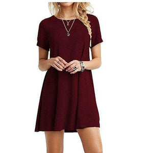 Womens Summer Simple Short Sleeves Dress,, style flaire clothing fashion and gifts