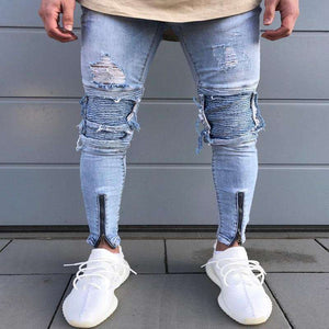 Designer Slim Fit Ripped Jeans Mens Distressed Denim,, style flaire clothing fashion and gifts