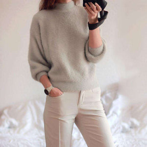 Thick Casual Winter Female Turtleneck Sweater Lantern Sleeve Loose,, style flaire clothing fashion and gifts