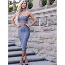 Sexy Strapless Two Piece Set Bandage Dresses,, style flaire clothing fashion and gifts
