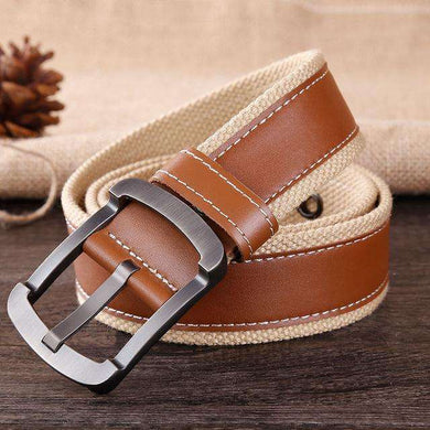 Military Style Canvas Belt Mens With Leather Strap,, style flaire clothing fashion and gifts