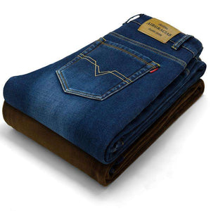 Mens Winter Stretch Thickened Jeans Warm Fleeced,, style flaire clothing fashion and gifts