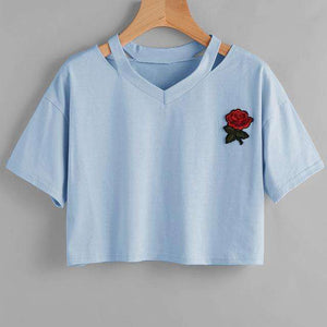 Womens Summer Kawaii Embroidery Rose T-Shirts Casual Tees,, style flaire clothing fashion and gifts