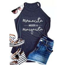 Women Summer Sleeveless Mamacita Mama Needs A Margarita Print Tank Tops,, style flaire clothing fashion and gifts