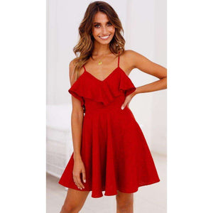Rose Red Summer Backless Mini Dress,, style flaire clothing fashion and gifts