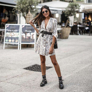 Snakeskin Print Party Mini Dress,, style flaire clothing fashion and gifts