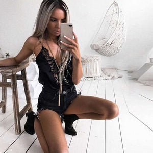 Lace And Silk Lady Camis Black Party Top,, style flaire clothing fashion and gifts