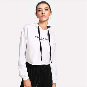 White Drop Shoulder Crop Womens Pullover Hoodie,, style flaire clothing fashion and gifts
