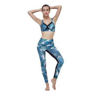 Two Piece Yoga Set Leaf Print Fitness Tracksuit Bra & Leggings,, style flaire clothing fashion and gifts