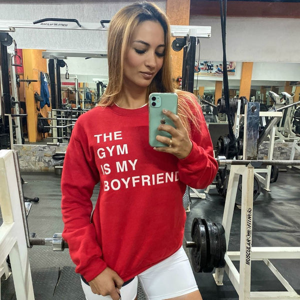 The Gym Is My Boyfriend Crewneck - Red