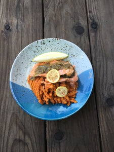 Salmon Pesto w/ Waffle Cut Yam Fries - Ready. Chef. Go!