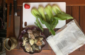 BBQ Grilled Oysters with Baby Bok Choy and Ponzu