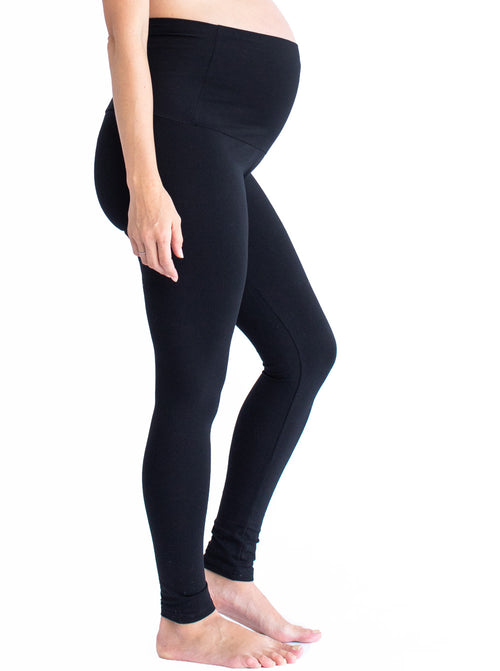 Maternity High Waist Band Winter Legging - Black