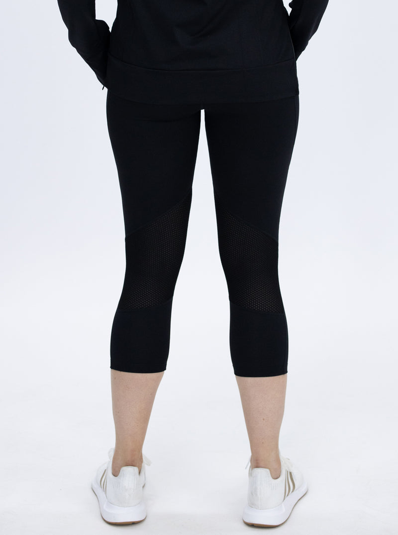 Maternity Workout Tight 3/4 Length Legging - Black back