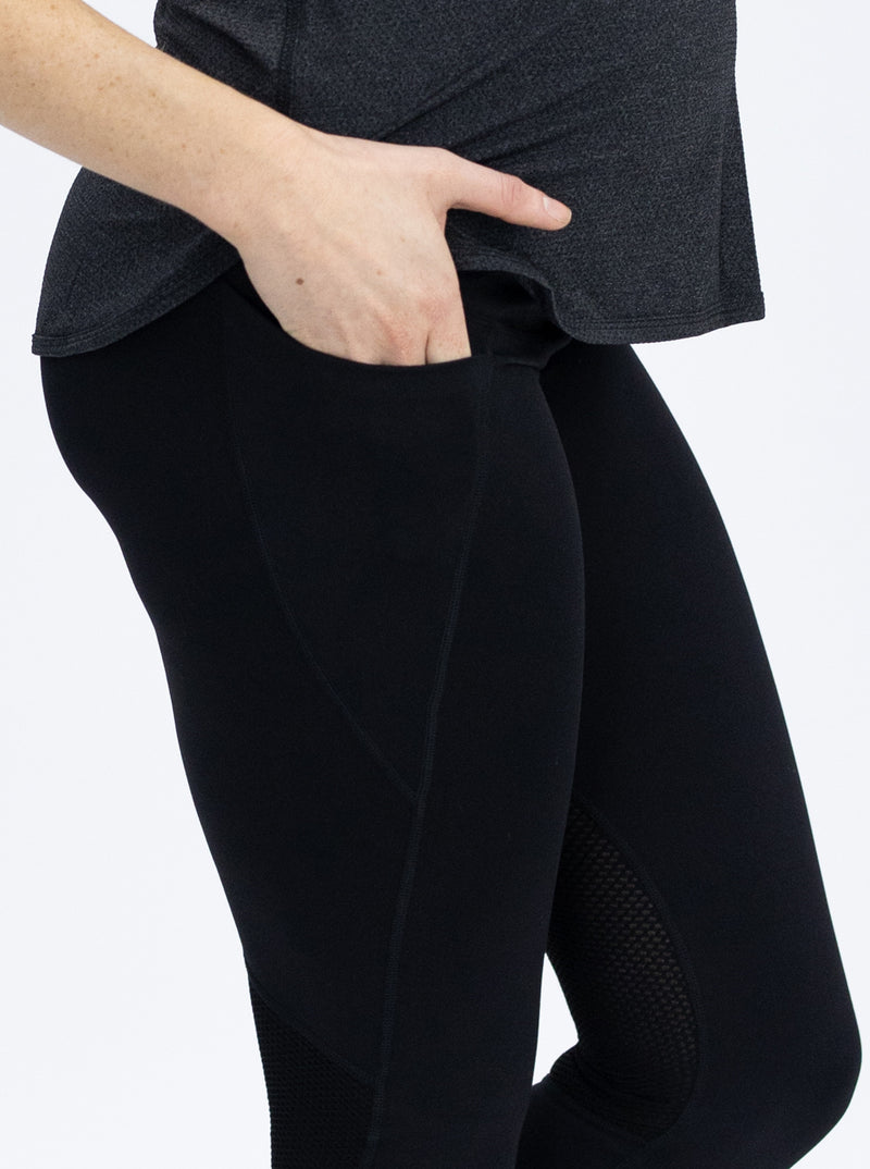 Maternity Workout Tight 3/4 Length Legging - Black close-up