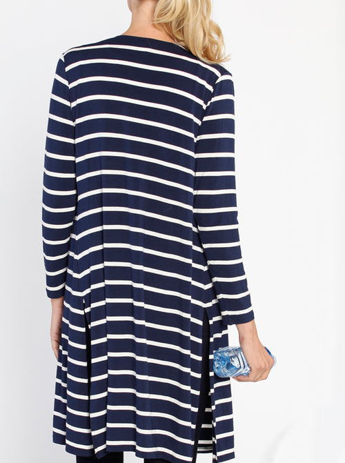 Maternity Long Lounge Cardigan in Stripes