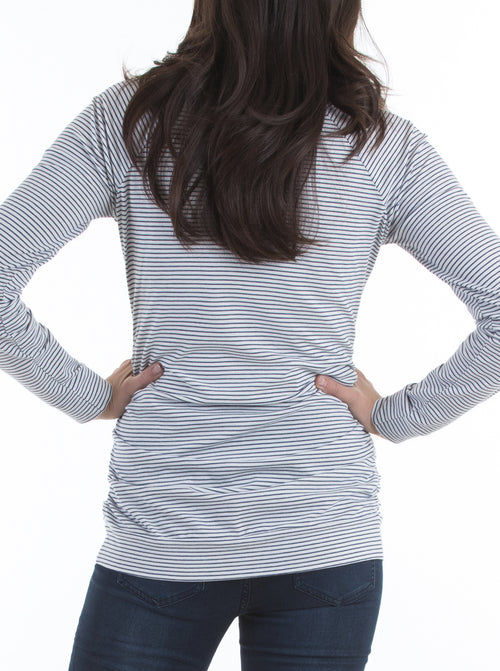 Long Sleeve Nursing Top - Navy & White Stripes