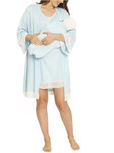 Sleep Robe + Nursing Dress + Matching Baby Wrap  - Light Blue