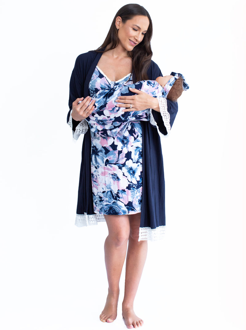 Hospital Pack: Nursing Dress + Robe + Free Baby Pouch - Navy Pink
