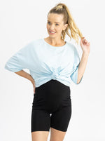 Maternity Loose Fit Oversize Tee  In Light Blue front