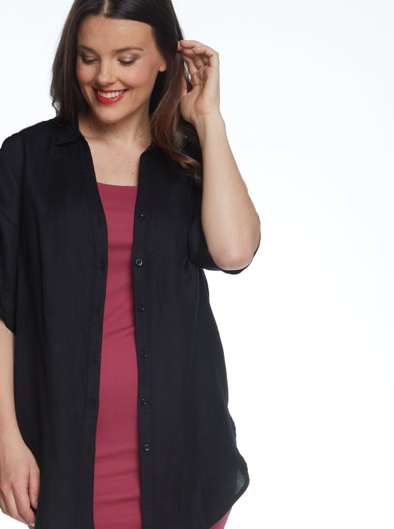 Maternity Linen Blend Button Nursing Shirt