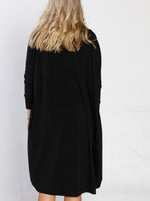 Long Scoop Cardigan in Black
