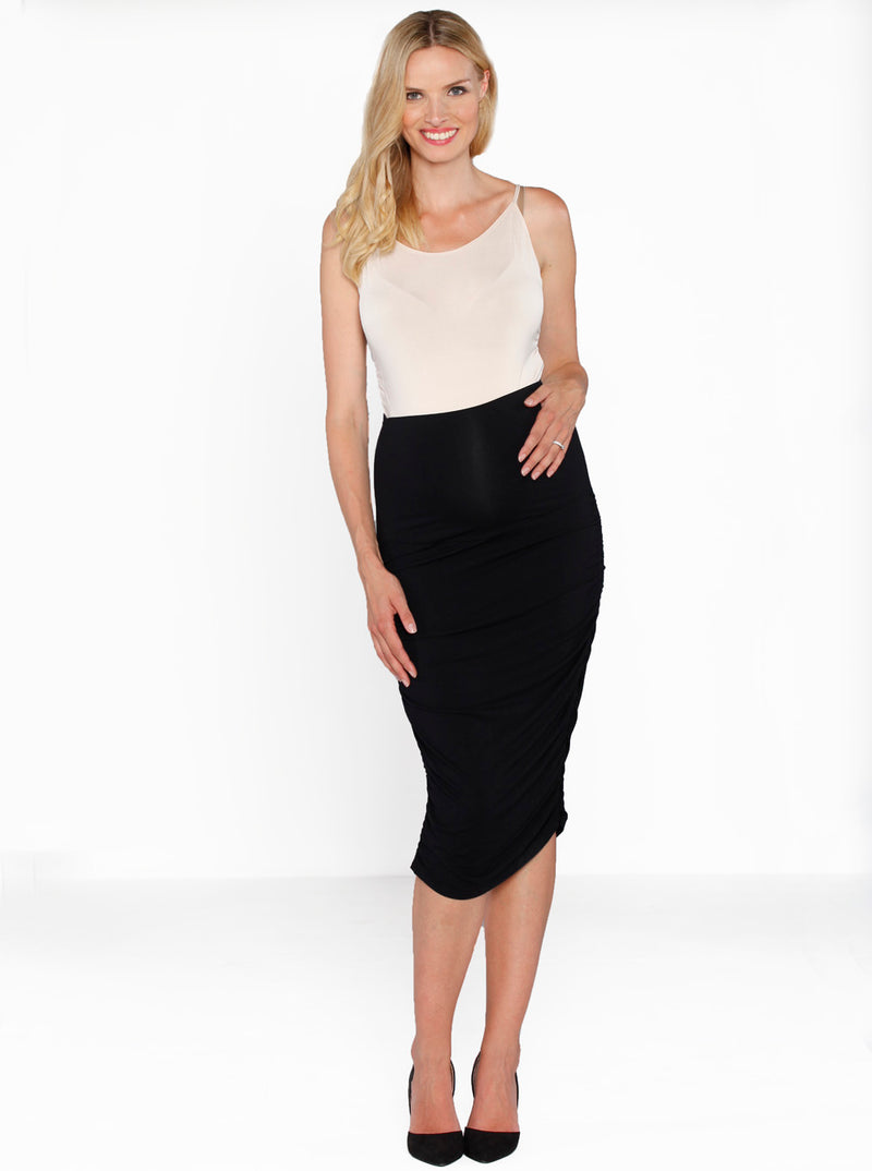 Maternity Side ruching high waist skirt - Black