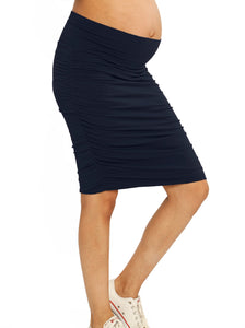 """The Rouched"" Maternity Skirt - Black/ Navy/ Blue/ Navy Stripes"