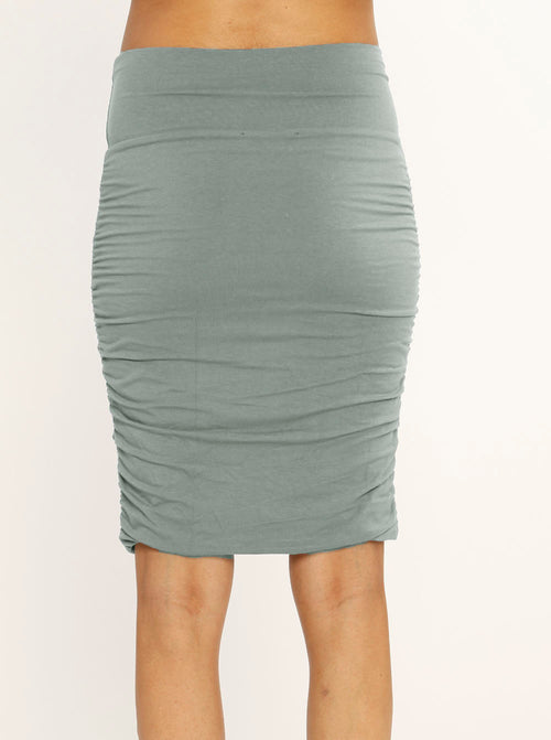 Maternity Ruched Summer Skirt - Khaki