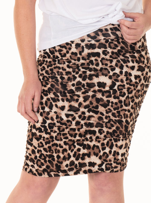 Maternity Ruched Summer Skirt - Leopard Print
