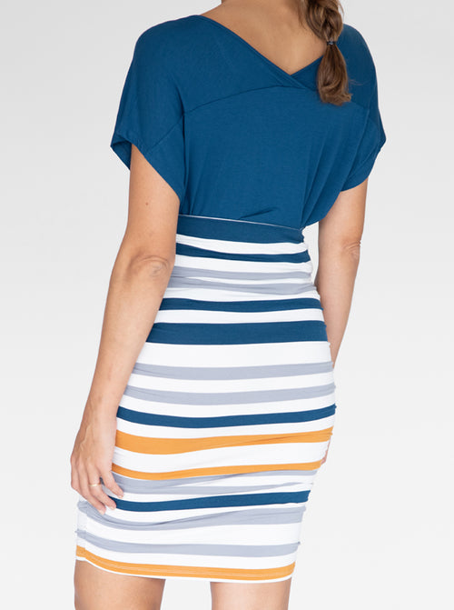 Bamboo Maternity Fitted Skirt - Orange and Blue Stripe back