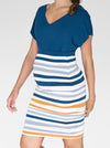 Bamboo Maternity Fitted Skirt - Orange and Blue Stripe fribt