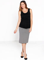 Reversible Maternity Skirt in Black Stripes/ Navy Stripes