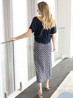 Fitted Maxi Maternity Skirt with Small Leaf Print back
