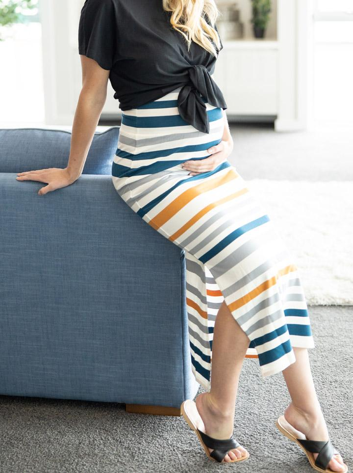 Full Length Bamboo Maternity Fitted Skirt - Orange and Blue Stripe
