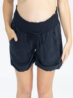 Maternity Tencel Summer Shorts - Navy front