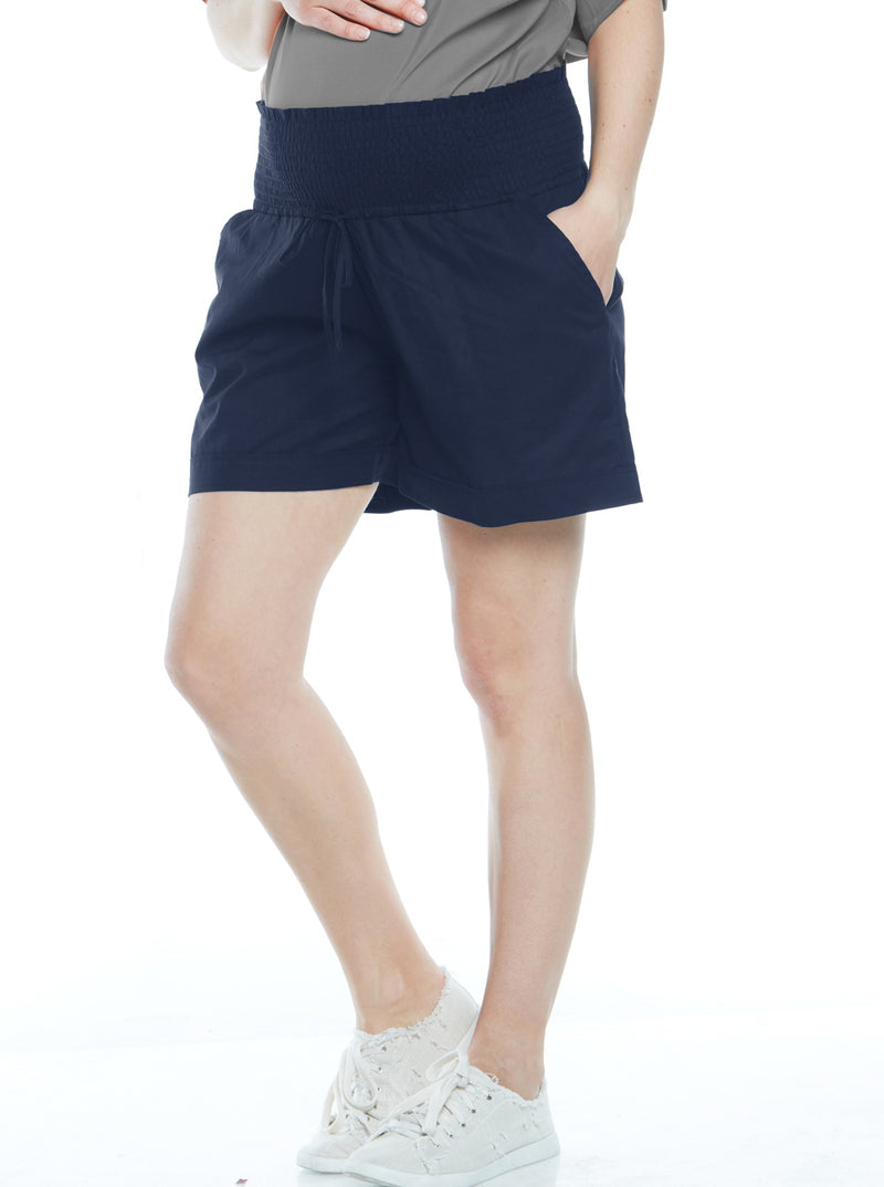 Maternity Relax Fit Light Weight Summer Shorts - Navy