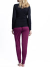 4 Piece Maternity & Nursing Lounge Outfit - Black & Burgundy