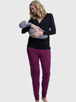 4 Piece Maternity & Nursing Lounge Outfit - Black & Burgundy main